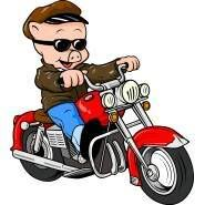 Porky Pig on motorcycle